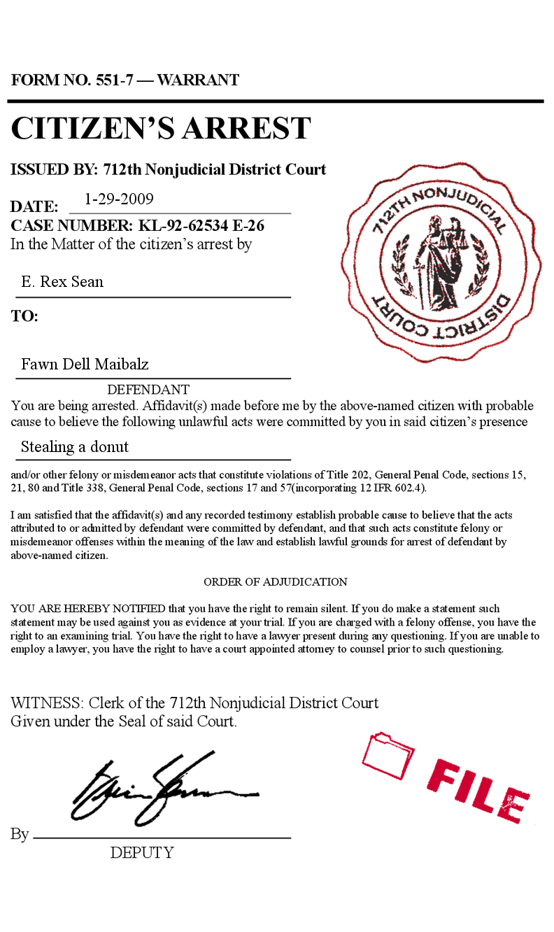 Fake citizens arrest order warrant court form police phony prank