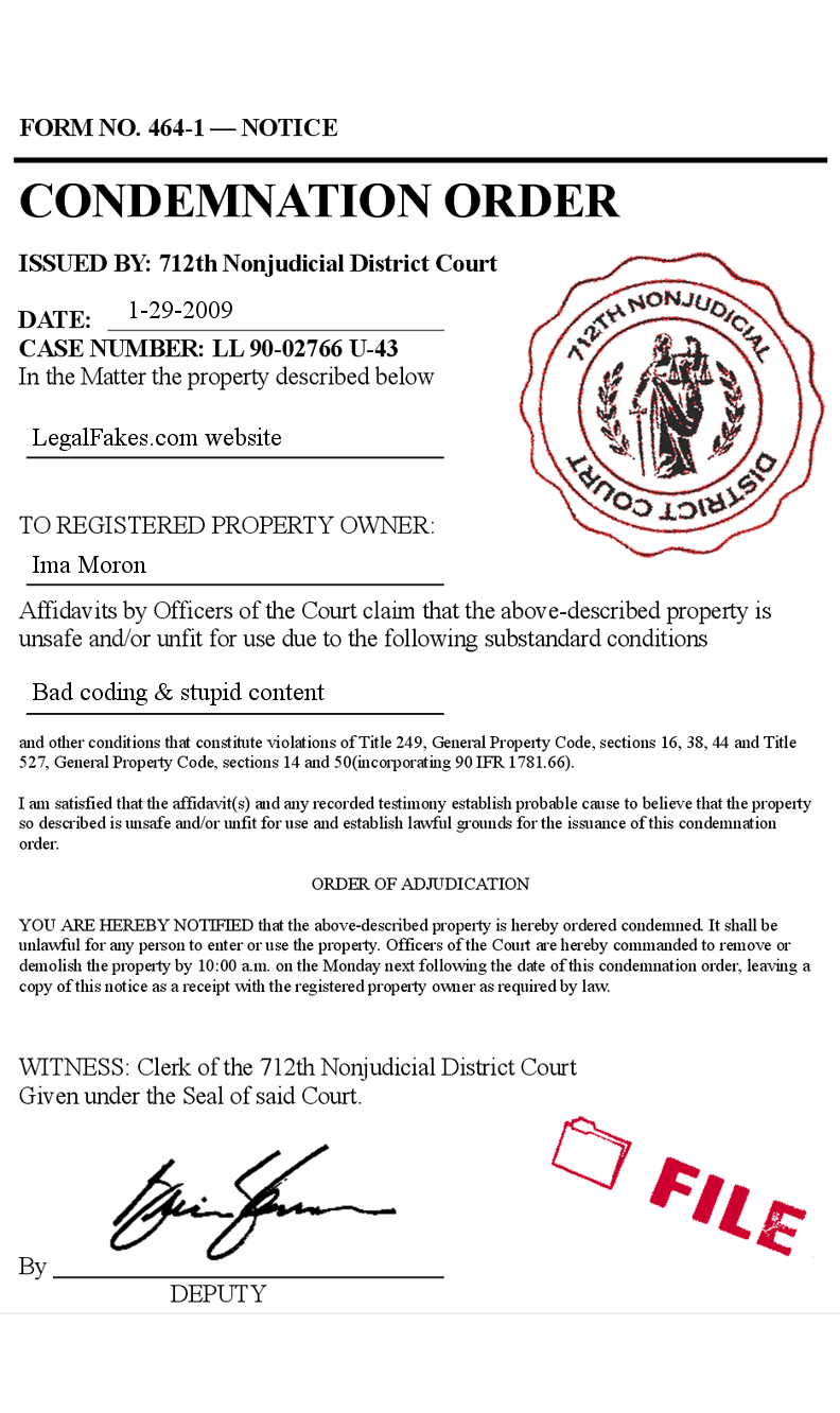 Fake Legal Condemnation Notice Code Violation Court Form Police - Fake legal document templates
